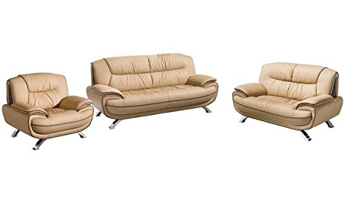 Italian Living Room Set - ESF Modern 405 Light Brown Italian Leather Sofa Set Contemporary Style
