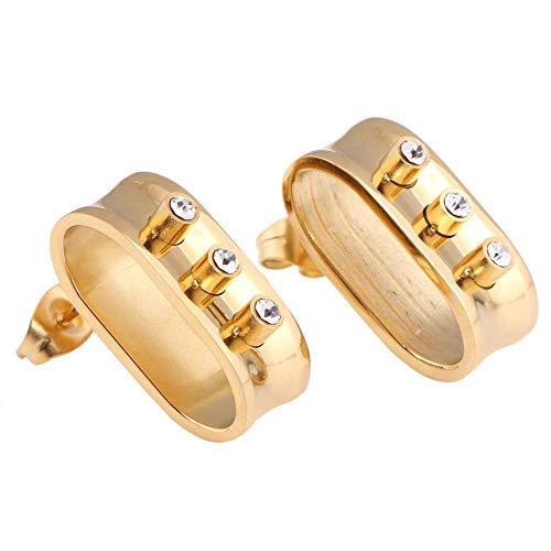 Onefeart Gold Plated Stud Earrings for Women Round Cubic Zirconia Belt Buckle Shape Unique Design Punk Style Gold ()