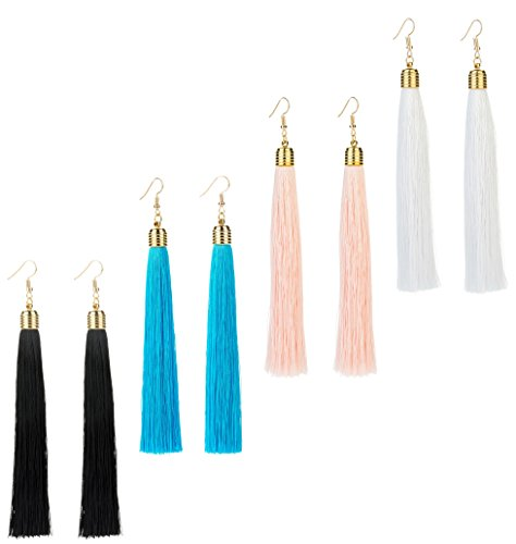 (REVOLIA 3 Pairs Womens Long Tassel Dangle Earrings for Girls Fringe Drop Earrings)