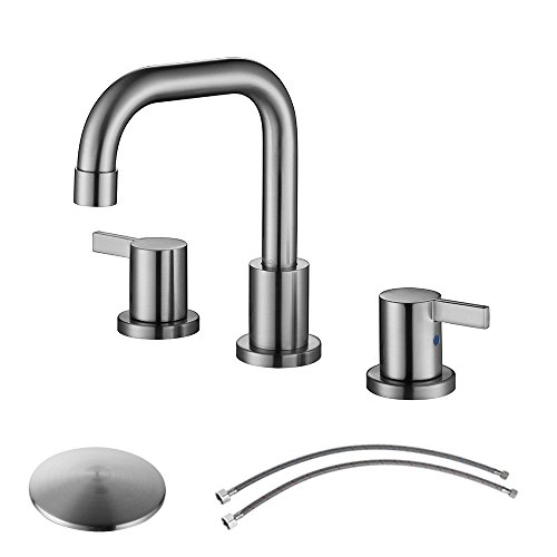 PARLOS Two-Handle Widespread Bathroom Faucet with Pop-up Drain Assembly and cUPC Faucet Supply Lines, Brushed Nickel, 13649