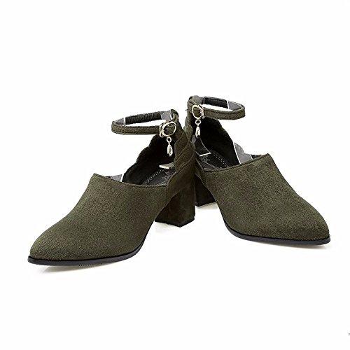 La primavera y el otoño, zapatos de mujer, grandes patios, Suede, señaló, grueso, zapatos, zapatos de mujer green