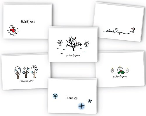 Winter Thank You Note Cards - 24 Cards with Envelopes - Eco 100% Recycled (Thank Winter Cards You)