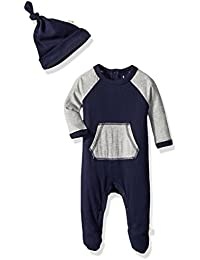 Baby Boys' Raglan Footed Coverall and Hat Set, Midnight, Newborn