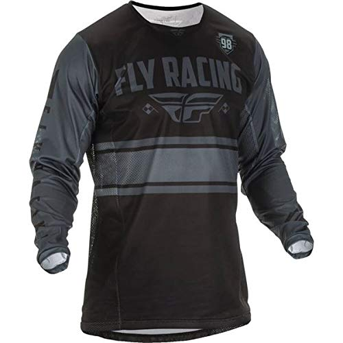 Fly Racing Men's Kinetic Mesh Era Jersey(Black/Grey, Large),1 Pack