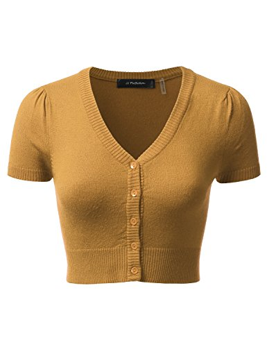 JJ Perfection Women's Button Down Short Sleeve V-Neck Bolero Cropped Cardigan Bronze L