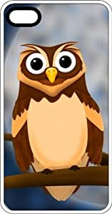 Brown Owl Sitting In The New Moon White Rubber Case for Apple iPhone 4 or iPhone 4s