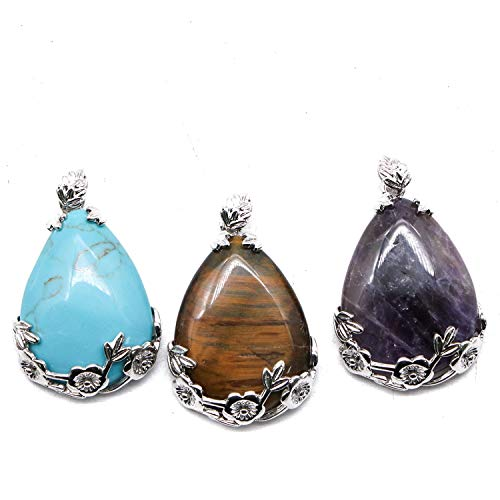 (JETEHO 3 Pcs Chakra Energy Crystals Waterdrop Pendants Healing Stone Pendants for Jewelry Making (Carnelian, Turquoise Stone,Synthetic)