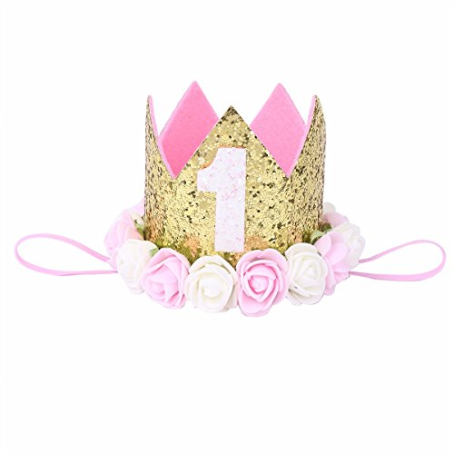 Baby Golden Girl Costume - iiniim Baby 1st Birthday Rose Flower Golden Crown Tiara Headbands Hair Accessories Gold 1st Pink Creamy White Rose Flowers One Size