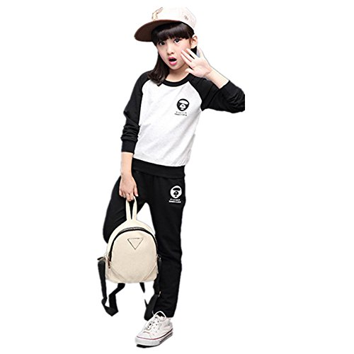 Price comparison product image FTSUCQ Girls Sports Tracksuits Sweatershirt Pullover Coat + Pants,Black 140