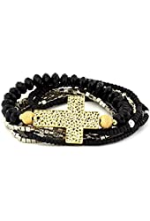 Belle Noel Gold Color Plated Cross and Beaded Bracelet Set
