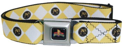 Power Rangers Logo Ranger Diamonds Adult Seatbelt Belt (One Size, Yellow) (Power Ranger Belt)