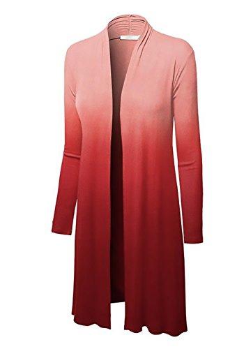 Moda Lunga Forti Slim Autunno Rossi Giacca Gradient Elegante Ufficio Manica Giubbotto Cardigan Tailleur Taglie Donna Casual OwSxqH1C