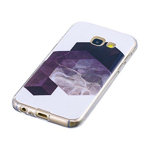 Samasung Galaxy A5 2017 Soft TPU Carcasa Funda, KaseHom mármol Cover Geometría de granito geométrica caso de las iniciales Protectiva Anti-rasguños Caso y [Protector de pantalla gratuito] -8 4