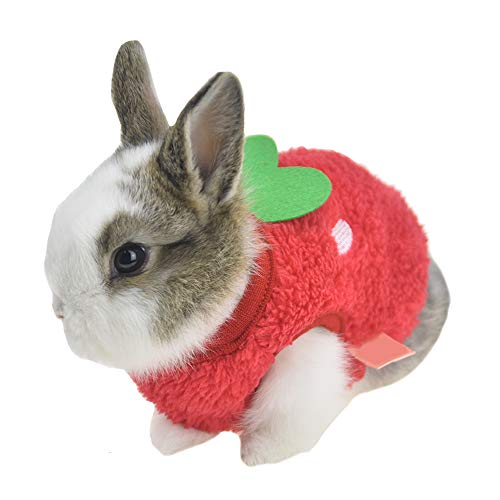 FLAdorepet Winter Warm Bunny Rabbit Clothes Small Animal Chinchilla Ferret Costume Outfits (2XS(Bust 10.2