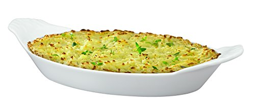 HIC Oval Au Gratin Baking Dishes, Fine White Porcelain, 10-Inch, Set of 4 by HIC Harold Import Co. (Image #2)