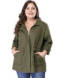 Agnes Orinda Women's Plus Size Lightweight Stand Collar Drawstring Utility Jacket