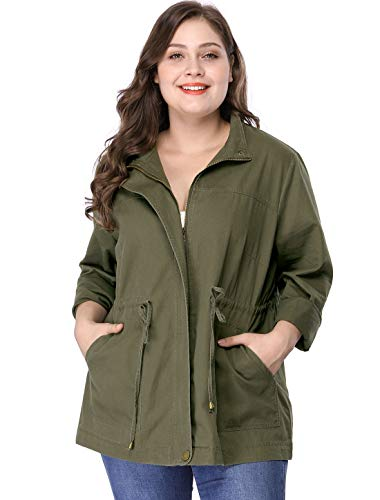 Plus Size Lightweight Stand Collar Drawstring Utility Jacket 2X Green ()