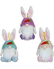 Easter Bunny Gnome Cookie and Candy Storage Container Jar Rabbit Swedish/Scandinavian Tomte Plush Doll Ornaments 3 Pack