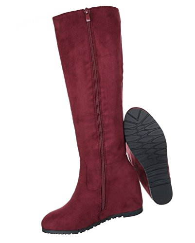 Damen Stiefel Schuhe Keilstiefel Boots Zipped Schwarz Hellbraun Rot 36 37 38 39 40 41 Rot