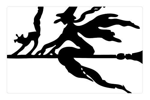 Tree26 Indoor Floor Rug/Mat (23.6 x 15.7 Inch) - Broom Witch Flying Cat Halloween Silhouette -