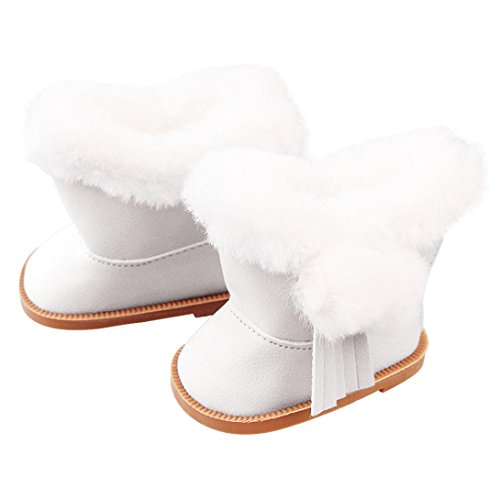 Elaco Plush Winter Snow Boots Cute Decoration For 18 Inch American Girl Dolls Mini Shoes (White) from Elaco