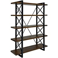 Furniture of America Linley V Industrial 5 Shelf Bookcase in Oak