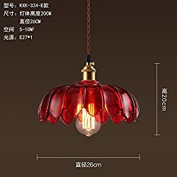 The restaurant glass chandeliers American creative personality chandeliers cafe lounge bar industrial retro single head,26x20cm,red Chandelier
