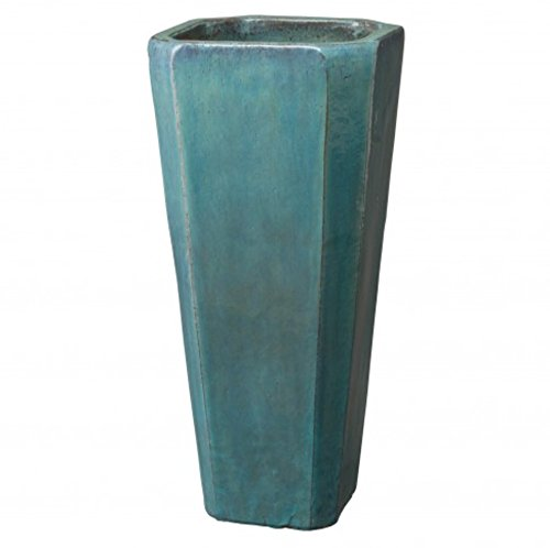 Tall Square Ceramic Planter - Teal Blue by Emissary