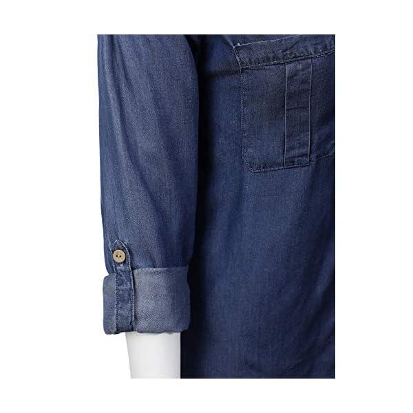 MixMatchy Womens Long Sleeve Solid Split Neck Tencel Button Down Shirt Blouse