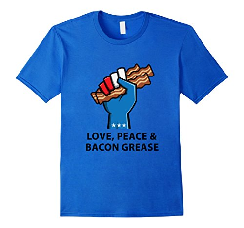 Men's Bacon And Egg Things - Love, Peace & Bacon Grease T-Shirt 3XL Royal Blue