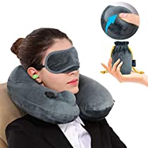 Inflatable Travel Pillow Best 360 Degree Neck Support Pillow Portable Planes U Shaped Pillow with Removable Cover,Sleeping Mask and Storage Bag for Airplane Travel,Car,Home,Camping use