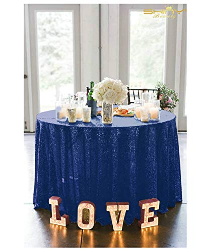 Round Sequin Tablecloth Shimmer Table Linen Wholesale Sequin Table Cloths Table Cover Table Overlay ~190412S (132Inch, Navy Blue)