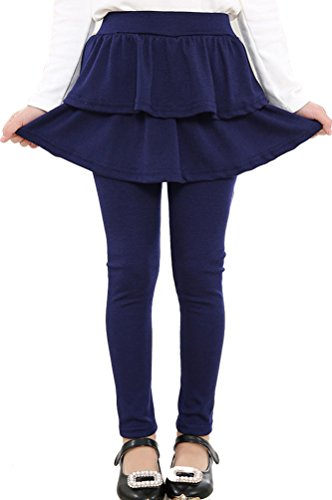 BogiWell Kids Girls Autumn Cotton Stretch Leggings with Ruffle Tutu Skirt Navy Blue(US 9-11T,Tag 150) (Knitting Cotton Dress)