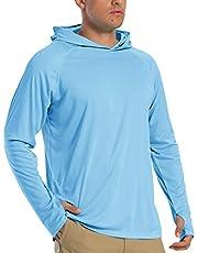 TACVASEN Heren Hoodies UPF 50+ Zonbescherming Prestaties lange mouwen T-shirt Sneldrogende Outdoor Hoodies
