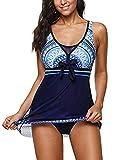 Swimsuits for Women Bathing Suits Swimdress Sporty One Piece Plus Size Boyshort Swimsuit Halter Swimming Blue Swim dress Large (fits like US 10-12) L