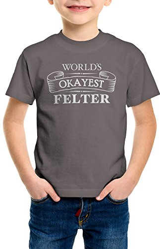 shirtloco Boys Worlds Okayest Felter Youth T-Shirt, Charcoal Extra Small
