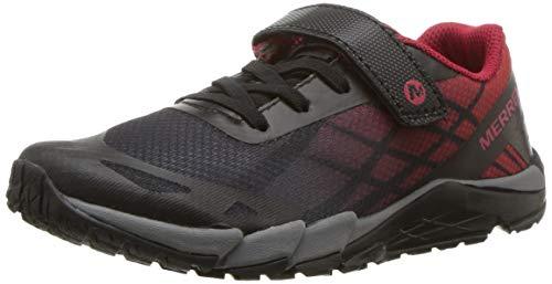 (Merrell Boys' Bare Access A/C Hiking Shoe, Black/red, 11 Medium US Little Kid)