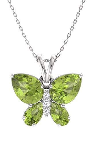 Diamondere Natural and Certified Peridot and Diamond Butterfly Petite Necklace in 14k White Gold | 1.11 Carat Pendant with Chain