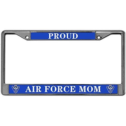 GND Proud AIR Force MOM Metal Chrome License Plate Frame,US AIR Force MOM License Plate Frame Cover Holder Stainless Steel Polish Mirror License Plate Frame for US Vehicles
