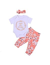 FUNOC Baby Girl Lovely Romper Jumpsuit Pants Headband Outfit Clothes