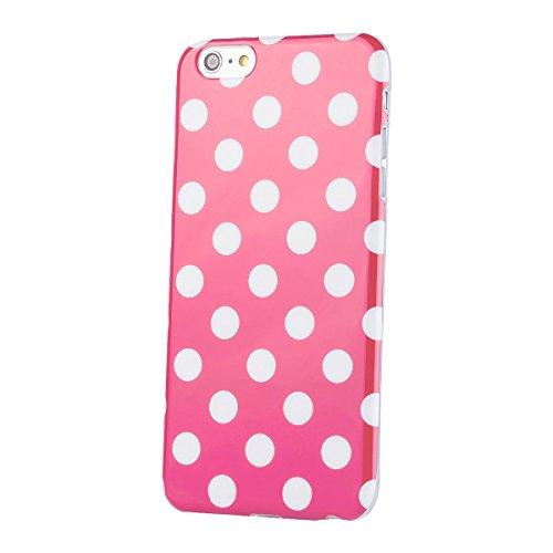 Apple iPhone 6 / 6S + PLUS (5,5 pouces) | iCues pois rose TPU Case | [Protecteur d'écran, y compris] Mesdames Femmes Filles motif motif gel de protection en silicone peau Couvercle de protection Couve