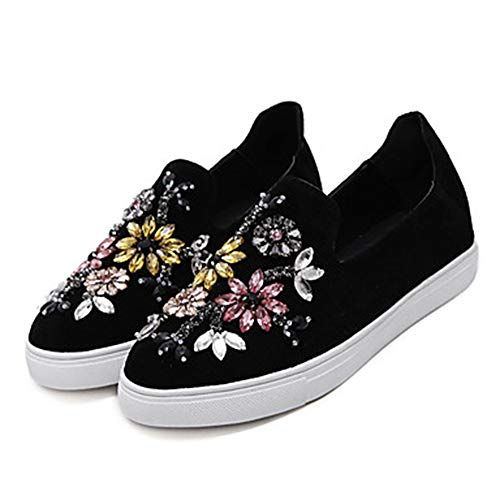 Bout Velours Plat US7 Brillante Printemps Paillette Black Talon Noir Été Strass Rond UK5 Gris Femme Confort Kaki CN37 5 Chaussures EU37 Basket TTSHOES qzwFxSpf