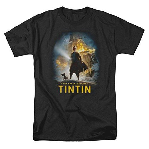 Tintin Men's Poster T-shirt Small Black