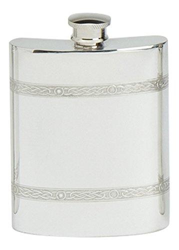 Stylish Slimline Square Polished Pewter Handcast Bottle Pocket Hip Flask With Celtic Rope Detail ()