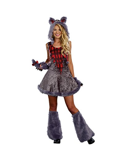 Wolf Halloween Costumes For Girls (Sugar Sugar Juniors Full Moon Sass, Grey,)