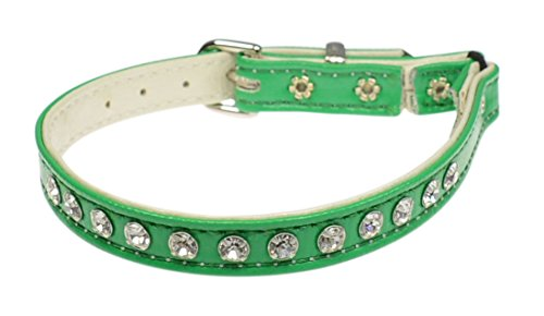 Jeweled Cat Safety Collar - Evans Collars Jeweled Cat Safety Collar with Elastic, Size 12, Vinyl, Green