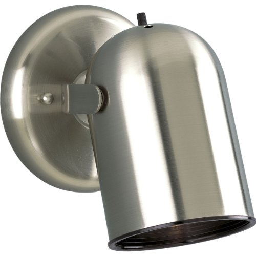 Progress Lighting P6155-09 1-Light Round Back Directional Metal Cylinder Style Light with On/Off Switch, Brushed Nickel - Round Back Cylinder Track Fixture