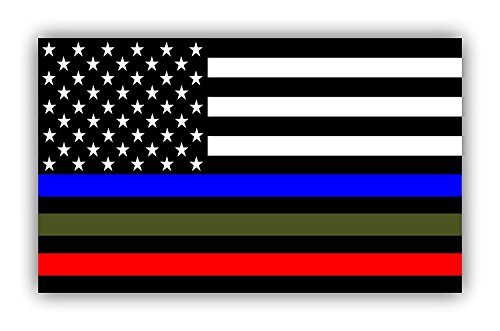 2 PACK - MILITARY STICKER, POLICE DECALS American Flag Sticker Blue Green and Red stripe for cars trucks to honor and support our TROOPS, POLICE, FIRE/EMT - - 3 in one sticker - 5 x 3 inch - 2 pack -