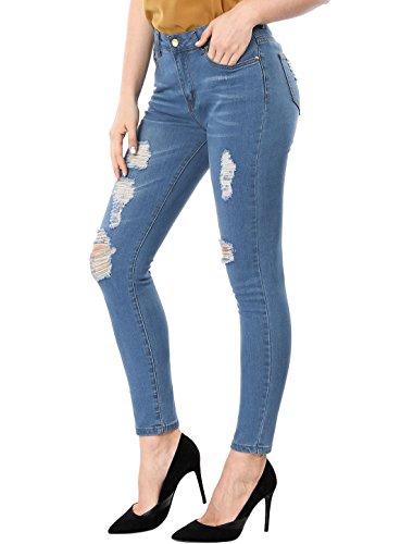 Allegra K Women's Distressed Design Mid Rise Washed Denim Skinny Jeans Light S Blue