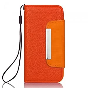 Ganbol Original New Flip Wallet PU Leather Case Cover for Apple iPhone 5 Free Black Mobile Strap Dark Orange & Orange